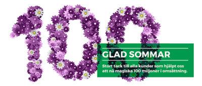 Siffran 100 skrivet med lila blommor
